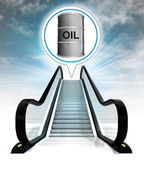 Oil barrel in bubble above escalator leading to sky concept — Stock Photo