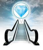 Blue diamond in bubble above escalator leading to sky concept — Stock Photo