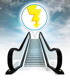 Thunderbolt in bubble above escalator leading to sky concept — Stock Photo