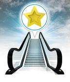 étoile d'or dans la bulle au-dessus d'escalator menant au concept de ciel — Photo