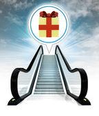 Gift box in bubble above escalator leading to sky concept — Stock Photo