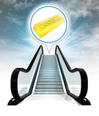 Gold ingot in bubble above escalator leading to sky concept — Stock Photo