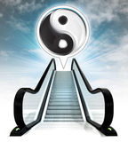 Yin yang icon in bubble above escalator leading to sky concept — Stock Photo