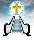 Golden cross in bubble above escalator leading to sky concept — Stock Photo