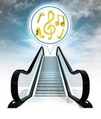 Music sound in bubble above escalator leading to sky concept — Stock Photo