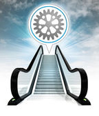 Industrial cogwheel in bubble above escalator leading to sky concept — Stock Photo