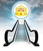 Royal crown in bubble above escalator leading to sky concept — Stock Photo