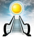 Golden sun in bubble above escalator leading to sky concept — Stock Photo