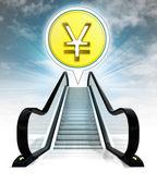 Yuan coin in bubble above escalator leading to sky concept — Stock Photo