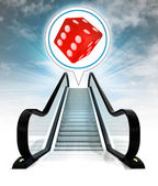 Lucky dice in bubble above escalator leading to sky concept — Stock Photo