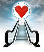 Red heart in bubble above escalator leading to sky concept — Stock Photo