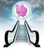 Happy pig in bubble above escalator leading to sky concept — Stock Photo