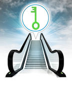 Green key in bubble above escalator leading to sky concept — Stock Photo