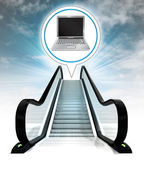 New laptop in bubble above escalator leading to sky concept — Stock Photo