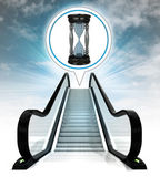 Hourglass in bubble above escalator leading to sky concept — Stock Photo