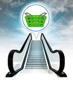 Trade basket in bubble above escalator leading to sky concept — Stock Photo