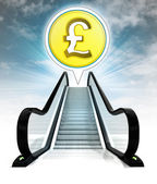 Pound coin in bubble above escalator leading to sky concept — Stock Photo