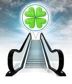 In bubble above escalator leading to sky concept — Stock Photo