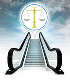 Justice weight in bubble above escalator leading to sky concept — Stock Photo