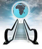 Africa earth globe in bubble above escalator leading to sky concept — Stock Photo