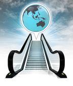 Asia earth globe in bubble above escalator leading to sky concept — Stock Photo