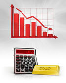 Gold merchandise with negative business calculations and graph — Stock Photo