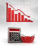 Red basket with negative business calculations and graph — Stock Photo