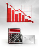 Email message with negative business calculations and graph — Stock Photo