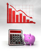 Pink pig with negative business calculations and graph — Stock fotografie