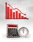 Stopwatch with negative business calculations and graph — Stock Photo