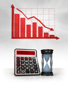 Hourglass with negative business calculations and graph — Stock Photo