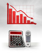 Telephone with negative business calculations and graph — Stock Photo