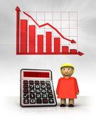 Stehende frau mit negativen geschäft berechnungen und graph — Stockfoto