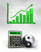 Balance sign with positive business calculations with graph — Stock Photo