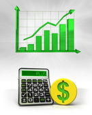 Dollar golden coin with positive business calculations with graph — Stock Photo