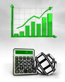 Movie tape with positive business calculations with graph — Stock Photo