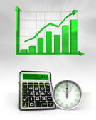 Stopwatch with positive business calculations with graph — Stock Photo