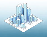 Isometric view to office city island 02 — Stock Photo