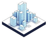 Isometric view to isolated office city — Stock Photo