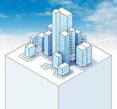 Isometric view to office city sky scene — Stock Photo