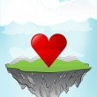 Red heart on flying island — Stock Vector #45711357