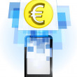 Euro coin in mobile phone — Vector de stock