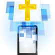 Golden cross in mobile phone — Vector de stock