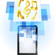 Music in mobile phone — Stock Vector