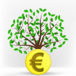 Euro coin in front of green tree — Stock Vector