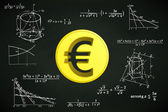 Euro coin on blackboard with math calculations vector — Stock Vector