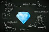 Diamond jewel on blackboard with math calculations vector — Stock Vector