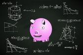 Happy pig on blackboard — 图库矢量图片
