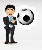 Pelota de futbol en concepto de idea de burbuja — Vector de stock