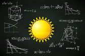 Yellow sun on blackboard — Stock Vector